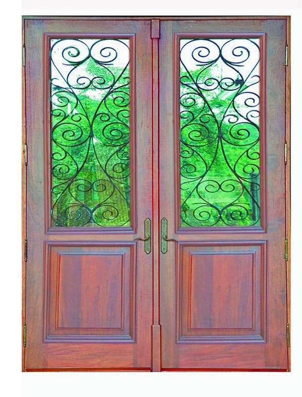 Block Island Mahogany Grilled Door