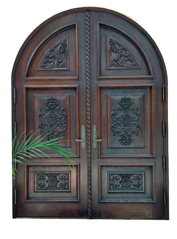 hand carved arched mahogany entrance door