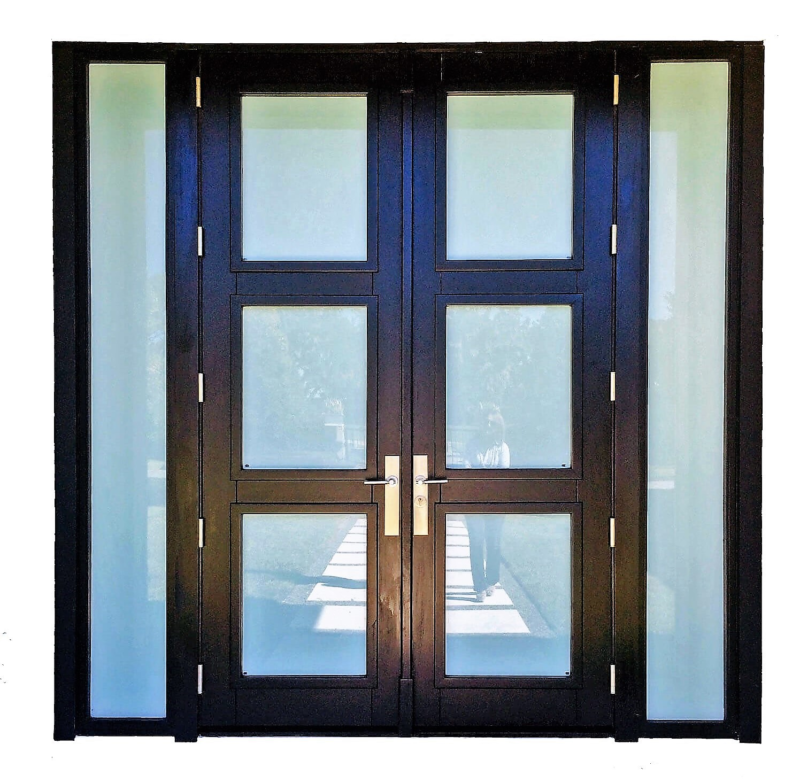 contemporary wooden mahogany double doors with frosted glass inserts, and frosted glass sidelites